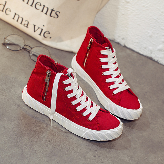 47322f1881bcc8 Women Sneakers Zip Red Canvas Shoes Women White Casual Sport Shoes  Comfortable zapatillas Basket Female High Top Student Shoes