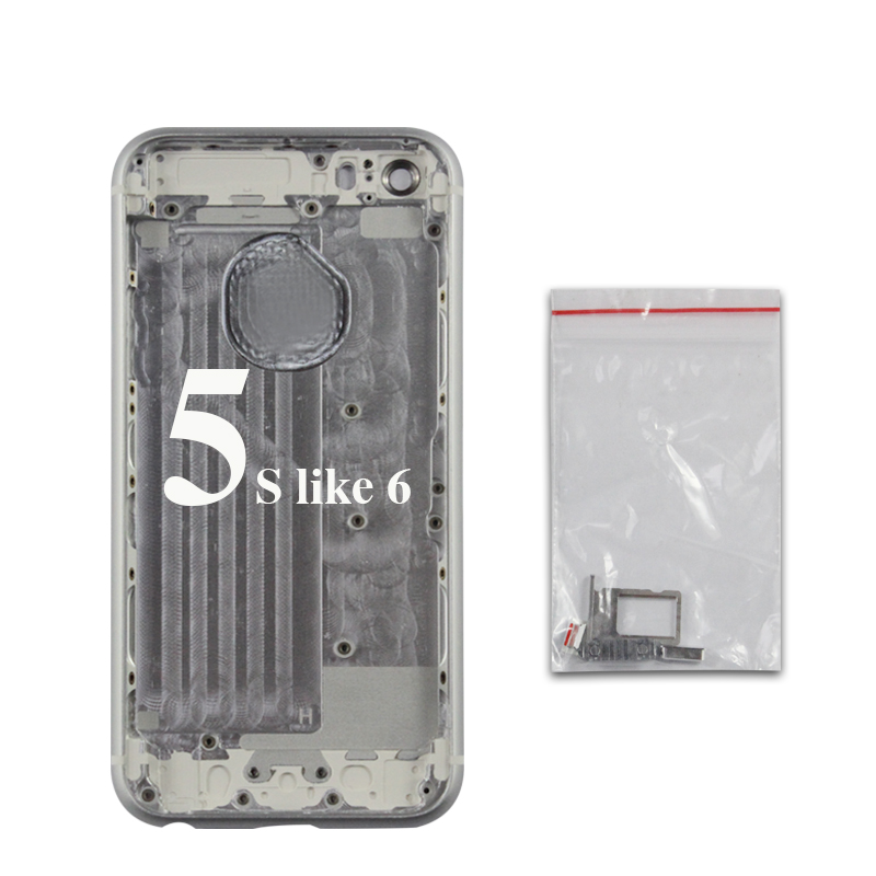 imágenes para Alta calidad a estrenar Para el iphone 5S como 6 estilo Volver cubierta de La Batería Vivienda Chasis Chasis + IMEi + herramientas de Envío gratis