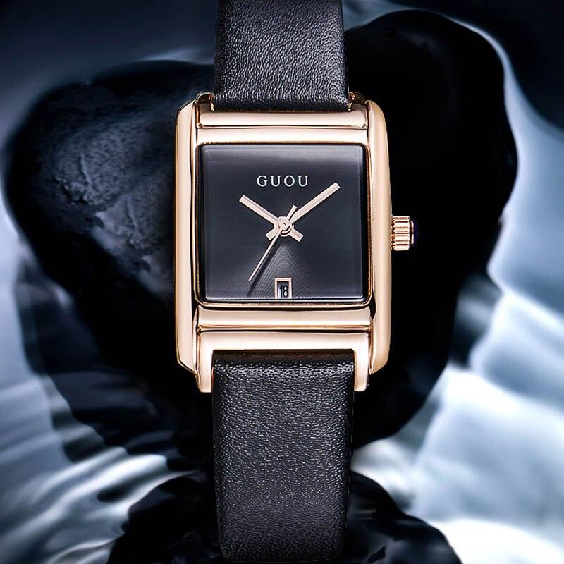 ①  Модные GUOU Кварцевые Кожаный Ремешок Часы женские часы Квадратный Простой Водный Календарь Кварцевы ①