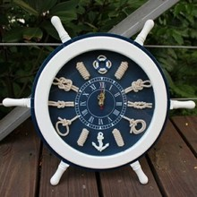 Fashion personality solid wood wall clock a sailor knot wall clock mute