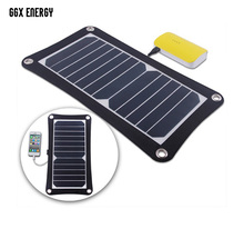 GGX ENERGY 6.5 Watt Portable Solar Cell Panel Charger for Hiking Camping Portable Solar Phone Charger High Efficiency цена