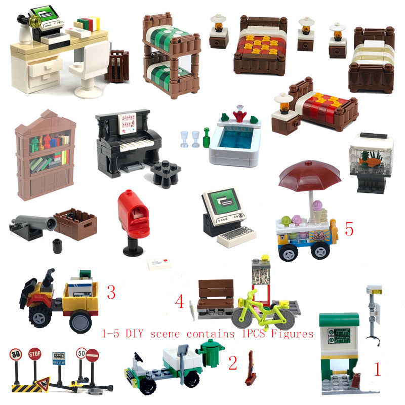 Bloqueio cidade moc sofá de computador, mesa e cadeira contador lâmpada lixo caminhão tráfego sinal sorvete carro diy conjunto brinquedo infantil duploed