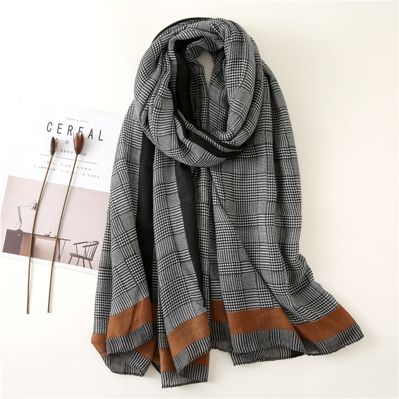 2019 New Design Plaid Striped Viscose Shawl Scarf Women High Quality Printe Pashmina Stole Bufandas Mujer Muslim Hijab 180*90Cm