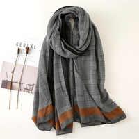 2019 nuevo diseño a cuadros rayas viscosa chal de Mujer bufanda alta calidad Printe pashmina estola de Bufandas Mujer musulmán Hijab 180*90Cm