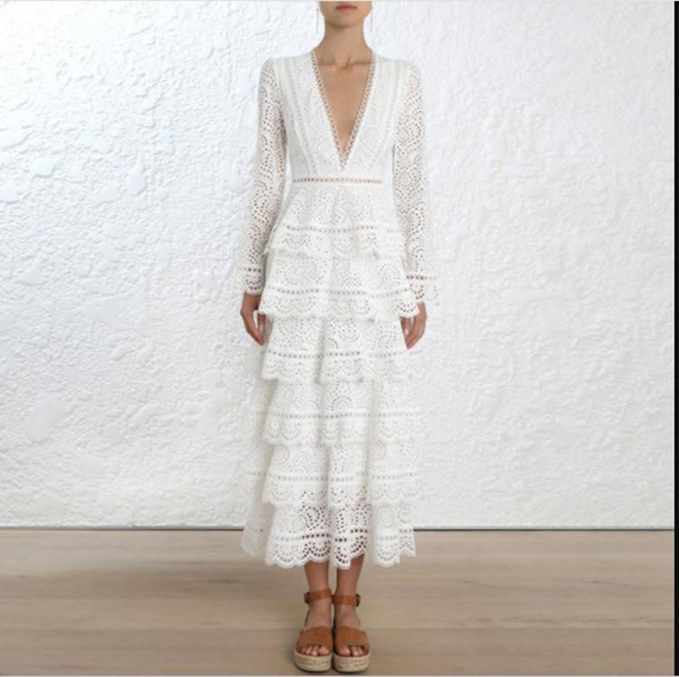 2019 nouvelle arrivée de haute qualité piste de luxe blanc dentelle robe femmes à manches longues Sexy col en v robe de soirée robes - 3