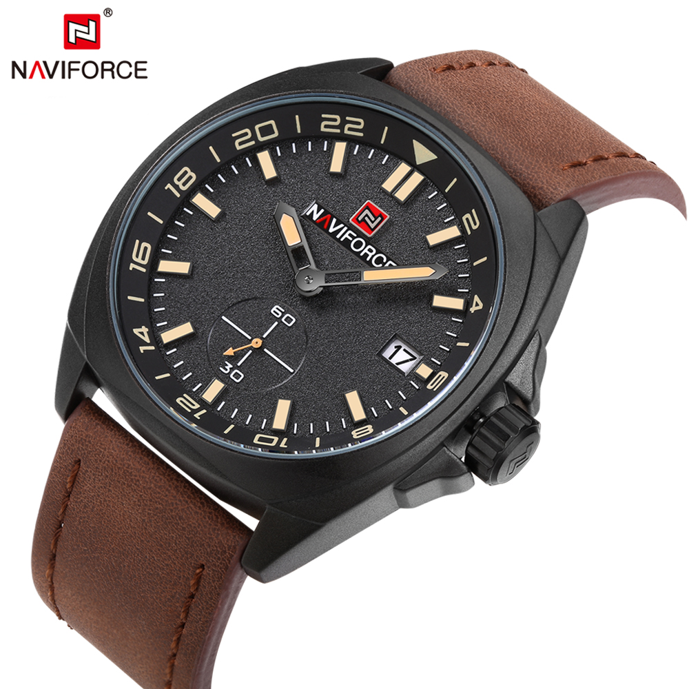 2018 NAVIFORCE Luxury Brand Men Quartz Watch Male Leather Waterproof Sport Watch Men Military Wrist Watches Relogio Masculino 210