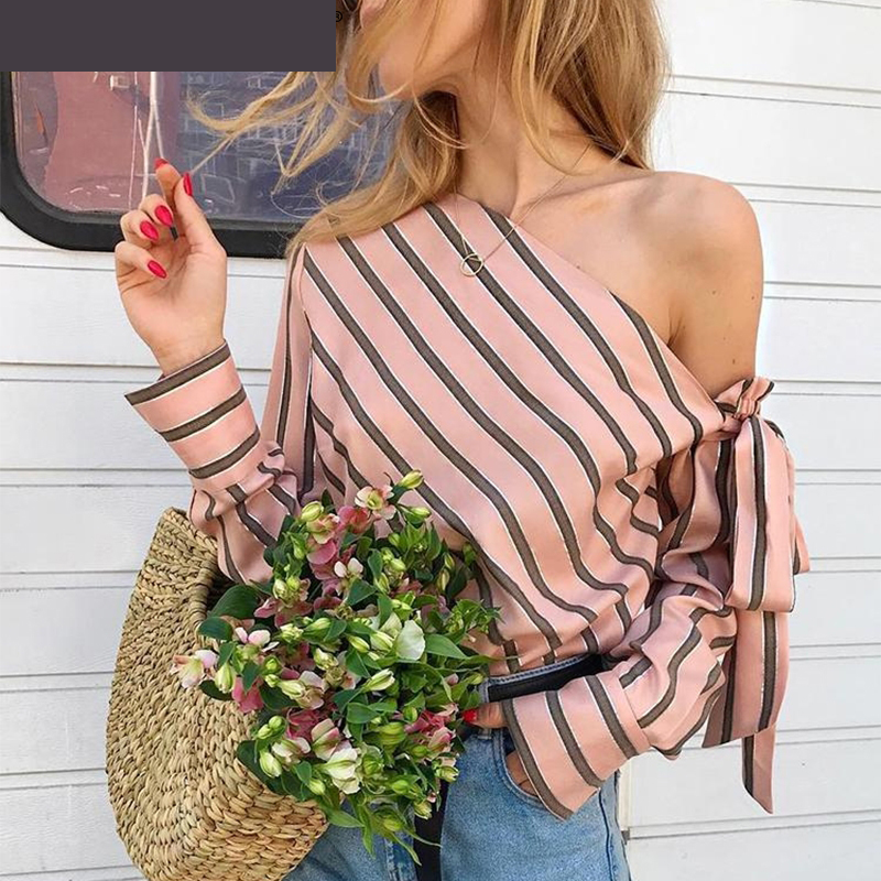 Smooth Comfortable Glamaker Striped Chiffon One Shoulder Women's Blouse Shirt Elegant Casual Blouses Sexy Streetwear Blusas Top