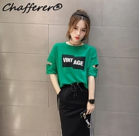 Plus Size Women Hole Summer T Shirts Fashion Korean Slim 2017 New Tees Clothing Letter Printed