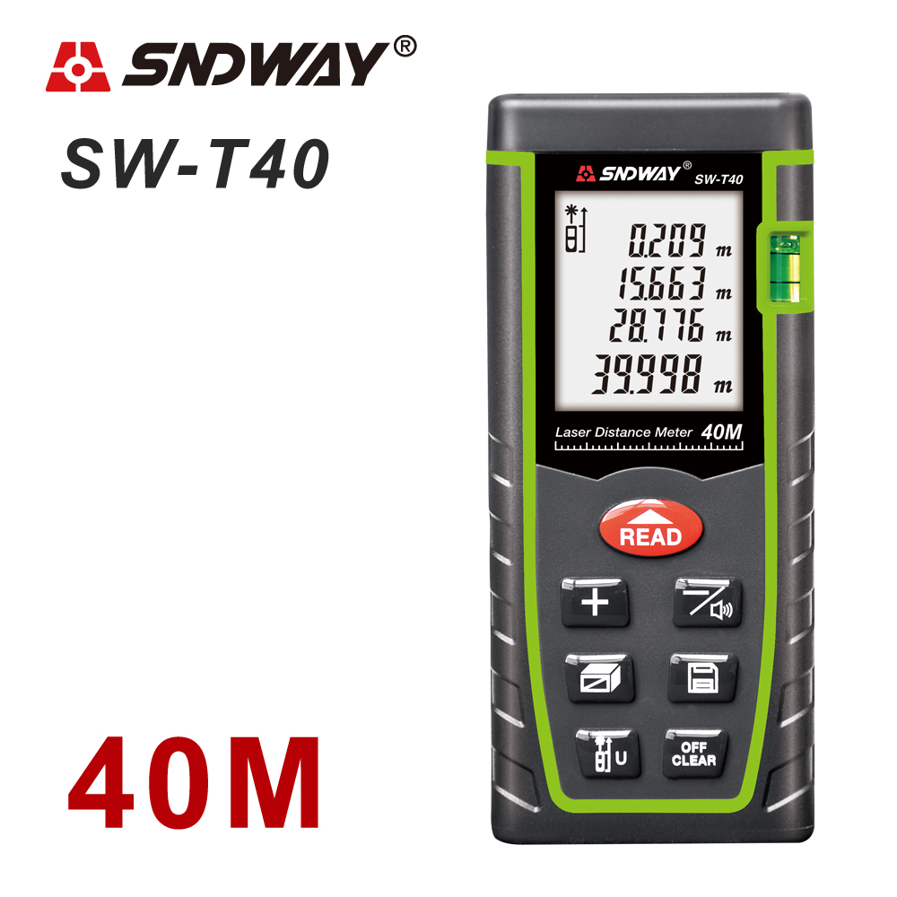 SNDWAY Laser Distance Meter 40-120M with LCD and Auto Power Off to Measure Wide Range Area 15