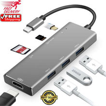 7in1 USB C Hub Dual Adapter Multiport Card Reader 4K HDMI Type C For MacBook Pro