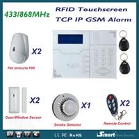 Bedrade en Draadloze Alarmsysteem GSM TCP Network Security Alarma Casa Huisdier Immuun Alarmsysteem, APP Afstandsbediening