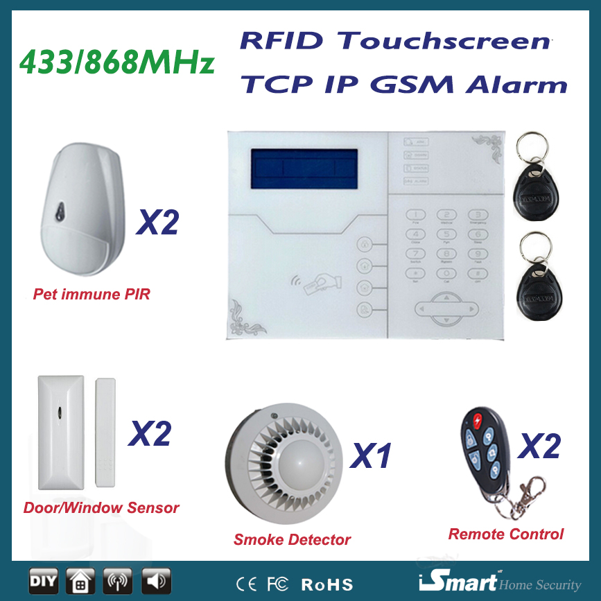 Wired and Wireless Alarm System GSM TCP/IP Network Security Alarma Casa Pet Immune Burglar Alarm System, APP Remote Control
