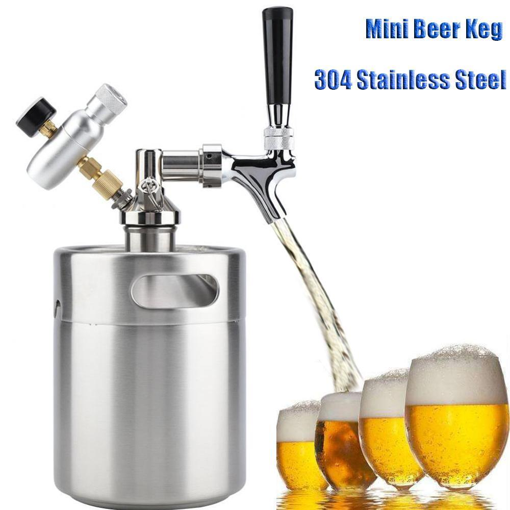 Mini Barilotto di Birra Growler per Craft Beer Dispenser Sistema di CO2 Regolabile In Pressione Birra alla spina Rubinetto con Perfetto Versare Regolatore