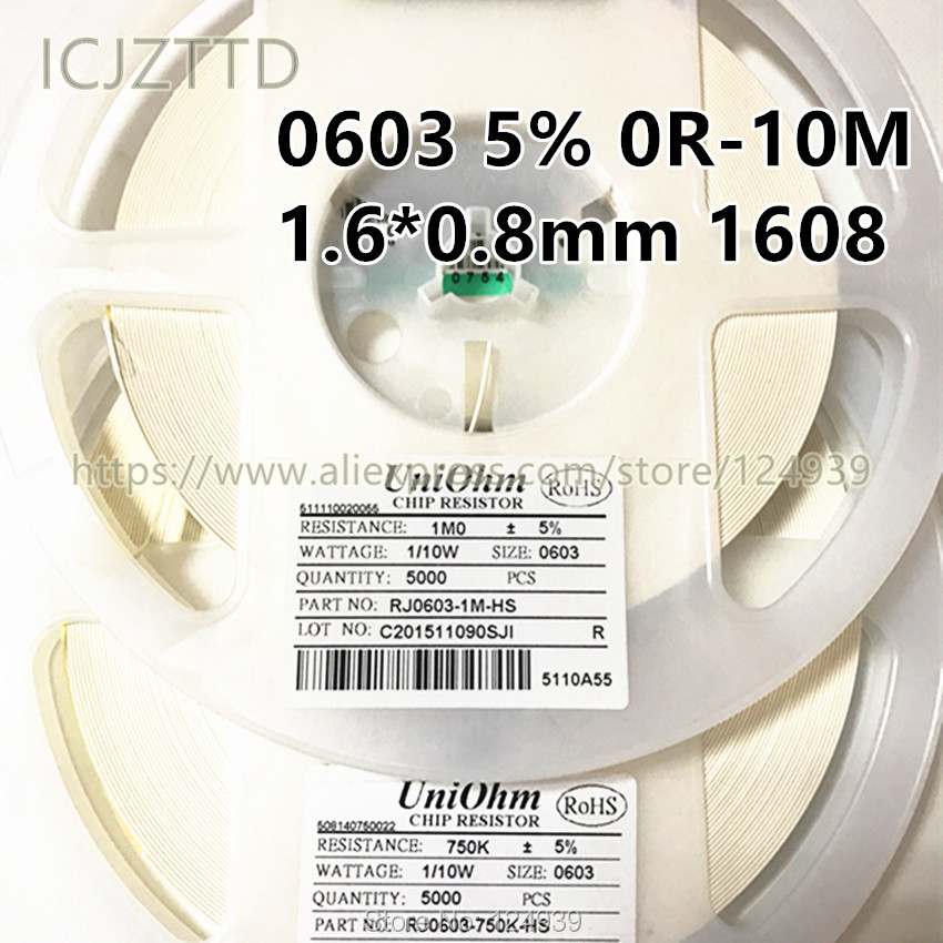 3.3K 3.6K 3.9K 4.3K 4.7K 5.1K 5.6K 6.2K 6.8K ohm Ω 5/% SMD Resistor 0603 1608