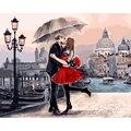 Enmarcado romántico beso amante diy pintura by números paisaje acrílico foto arte de la pared pintada a mano de pintura al óleo para la decoración del hogar