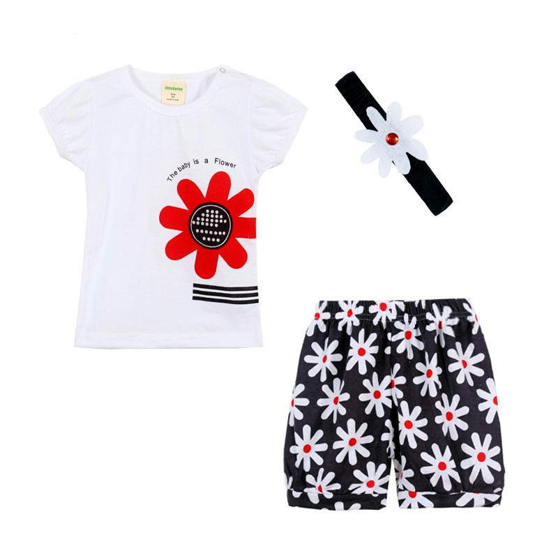 3pcs/Set Newborn Baby Clothes Baby Girl Dress Summer Kids Baby Clothing Sets Infant Baby Clothes T-Shirt+Pants+Headband 4