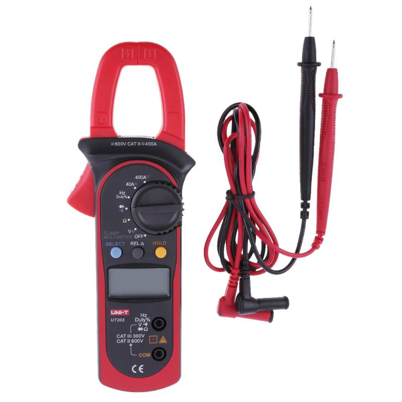 UT203 Digital Clamp Multimeter Auto Range Digital Clamp Meter AC/DC Current Volt Ohm Frequency Meters With Diode Detector NEW auto range clamp style digital multimeter with strap dt3266l