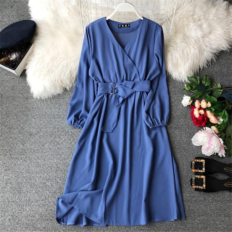 Fashion 2019 V Neck Spring Autumn Bandage Midi Long Dress Party Vestidos Women Casual Elegant Evening Tie Vestido de festa 1