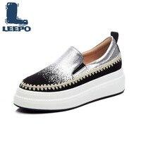 Plate-forme mocassins chaussures pour femmes de luxe à la main en cuir véritable argent chaussures plates dames sans lacet mocassins chaussures plates souples 6cm