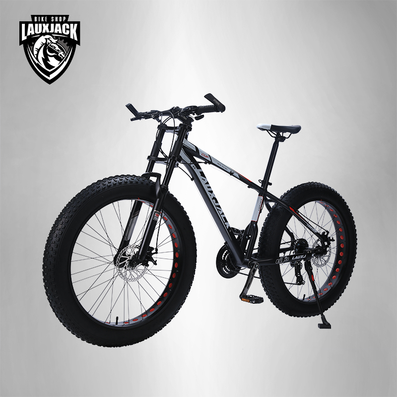 LAUXJACK Mountain bike aluminum frame 24 speed Shimano mechanical brakes 26 x4.0 wheels long fork FatBike lauxjack mountain fat bike steel frame