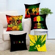 Decoración Del hogar Amo Reggae León de África Loco Music Fans Regalo Vintage Shabby Chic Cojín Funda de Almohada Almohadas Decorativas de la Sala de estar