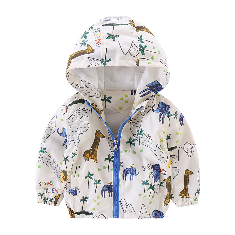 Высокое качество Новинка весны 2017 года бренд милые животные ветровка на молнии Верхняя одежда с капюшоном Обувь для мальчиков и куртка для ...
