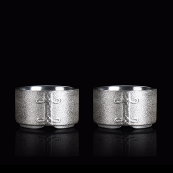 TANGPIN 999 silver and ceramic tea cup handmade set of 2 cups silver kung fu cup 70ml