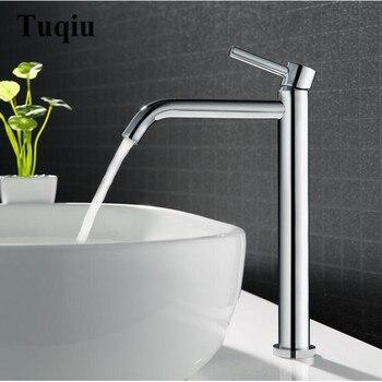 Grifo de fregadero alto cromado de latón para baño, grifo mezclador de agua para lavabo caliente y frío
