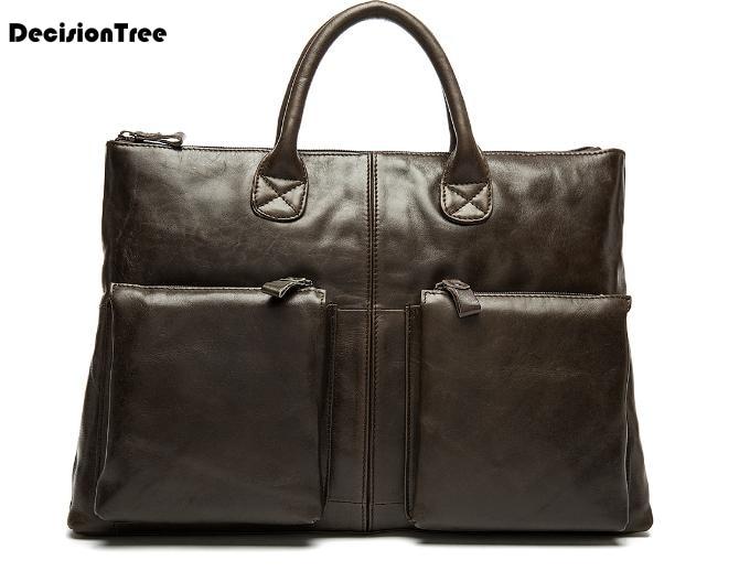 New Fashion Genuine Leather Men Briefcase Bag Casual Shoulder Bag Mature Business Messenger Bag Gentle British Style HandbagL112