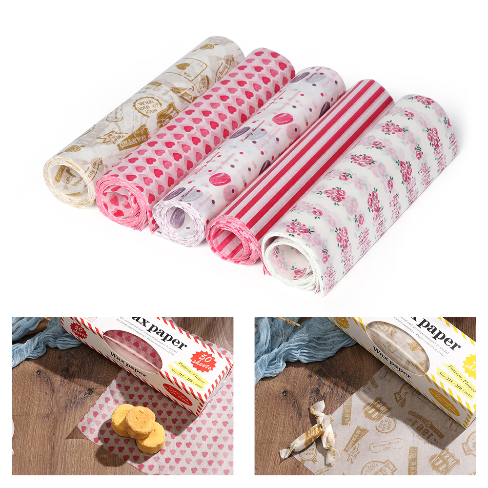 50PCS/Set  Food Packing Paper Waterproof Food Wax Paper Cake Cookie Baking Sheet Packaging Paper