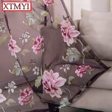 Purple floral tulle curtains for living room bedroom kitchen modern window curtain translucidus home textile blinds