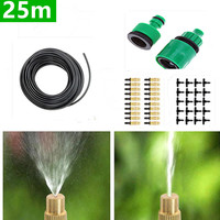 25m Tubing + 25pcs Brass Sprinkler Irrigation System Portable Misting Automatic Watering Garden Hose Spray Watering Kits BC01