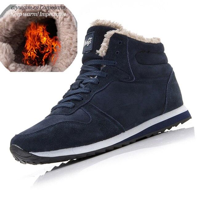 Men Boots Men Winter Shoes Plus Size 35-48 Warm Ankle Botas Hombre For Leather Winter Boots Shoes Men Plush Winter Sneakers Mens 1