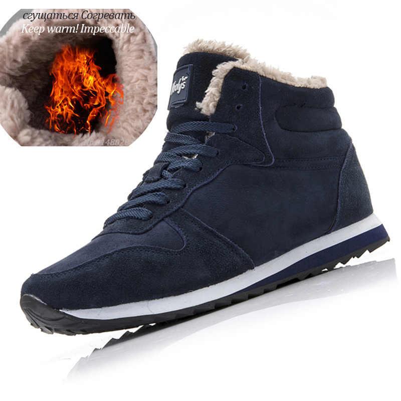 Stivali Da uomo Degli Uomini di Inverno Scarpe Più Il Formato 35-48 Caldo Caviglia Botas Hombre Per Stivali Invernali In Pelle Scarpe Da Uomo peluche di Inverno Scarpe Da Ginnastica Mens
