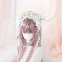 Księżniczka słodki lolita antler hairband Wspaniały kwiat ślub Lolita Lolita ręcznie ozdoby do włosów hoop KC Wzrosła Wzrosła koralik łańcuch dk35