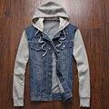Homens jaqueta Jeans com capuz sportswear ar livre casuais moda Jeans casacos Hoodies Cowboy Mens jaqueta e casaco Plus Size 4XL 5XL jaqueta masculina
