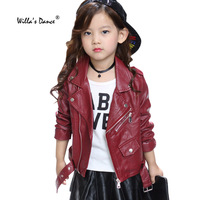 Willa S Dance Girls Leather Jackets 2017 Autumn Pu Leather Windproof Outwear For Kids Winter Coats