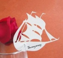 120pcs/lot Laser Cut sailing boat table name Place Card Escort Wine Glass Wedding favor Party Decoration wd106