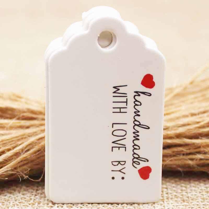 5×3 см крафт/белый DIy красный heartThank вы бумажная бирка тег подарок карту ручной тег Свадьба/ вечерние продукты бирка l100 + 100 строка/серия