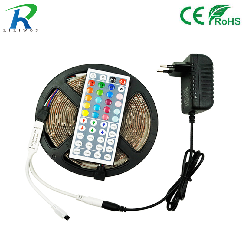 5M LED Strip RGB 5050 SMD Flexible Led Light Strip Non Waterproof DC 12V 5M Tape Diode RGB led Rope+IR Remote Controller 20m smd 5050 rgb led strip light 60leds m led flexible tape rope lights 18a wireless touch remote controller dc 12v power supply