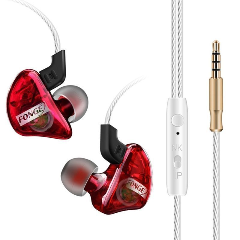 Original 3.5mm Fonge T01 Transparent In-Ear Earphone Subwoofer Stereo Bass Earbuds Earphone With Mic for iPhone Xiaomi pluggable in ear earphone driver earbuds headset hifi bass ear hook subwoofer sport headphone with mic for xiaomi pc mp3