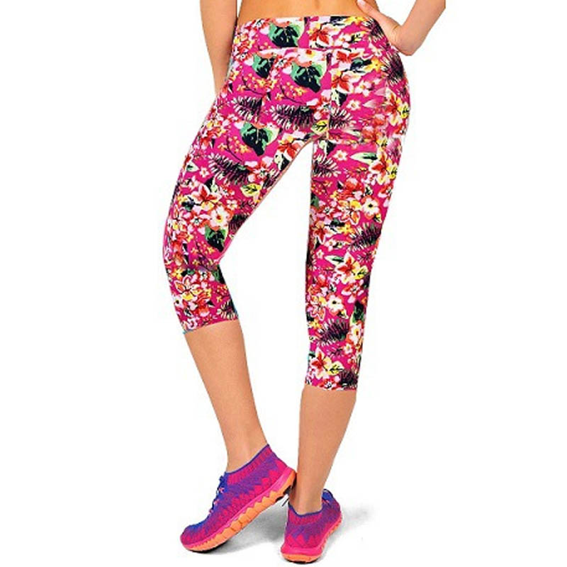 TOIVOTUKSIA Summer New Print High Waist Capri Leggings Fashion Mid-Calf 3/4 Plus Size High Elastic Milk Silk Leg
