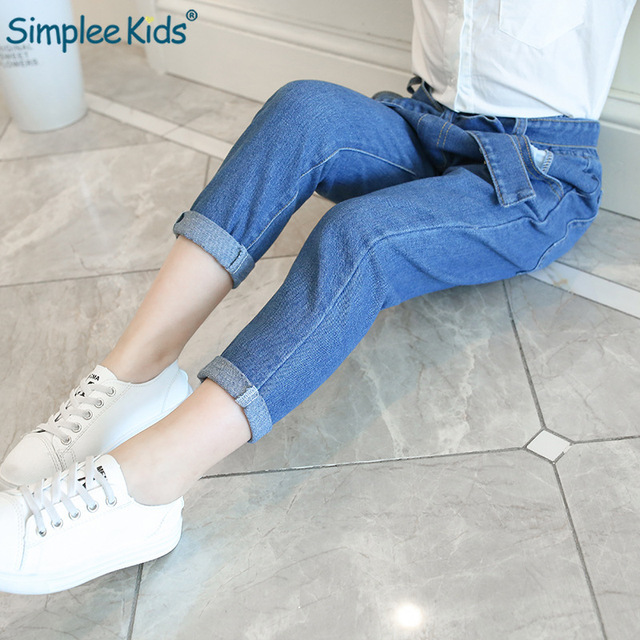 Simplee Kids Girls Feet Loose Jeans Children's Pants 2018 Spring Autumn New Girls Tapered Pants Trousers  Baby Girl Jeans Blue