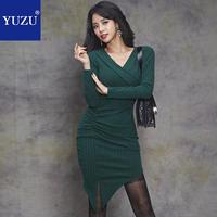 Winter Green Irregular Knit Dress Women Sexy V neck Long Sleeve Korean Fashion High Quality Bodycon Party Office Club Dresses
