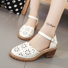 WHOHOLL Brand Women Shoes Mid Heel Sandals 2019 Spring Summer Casual Woman Hollow Out Zapatos Mujer