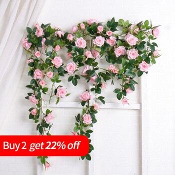 Luxury Artificial Rattan Flowers Big Fake Rose Ivy Hanging Vine