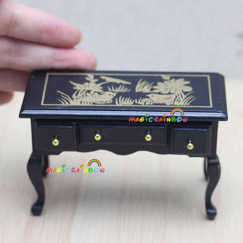 Vintage Side Table Desk with Drawers Painting Black Wood Dollhouse Miniatures 1:12 Scale Room Furniture