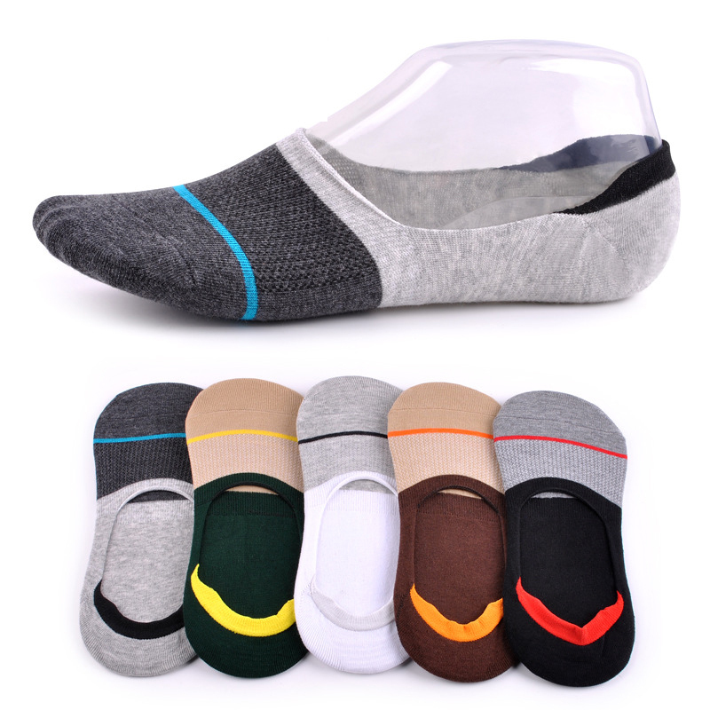 Mens Socks Hot-sell Socks Invisible Man Colorful Cotton Socks Slippers Shallow Mouth Sock(5 pairs/lot)