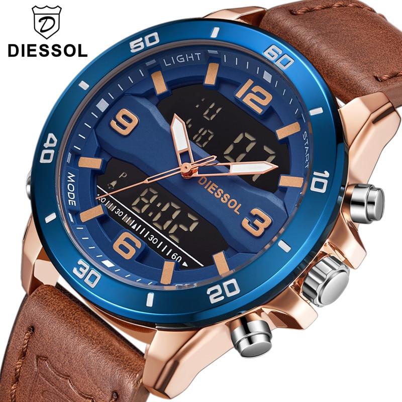 Uhren ZuverläSsig Diessol Männer Mode Quarz Sport Led Digital Uhr Top Marke Luxus Lederband Wasserdichte Armbanduhr Relogio Masculino Knitterfestigkeit