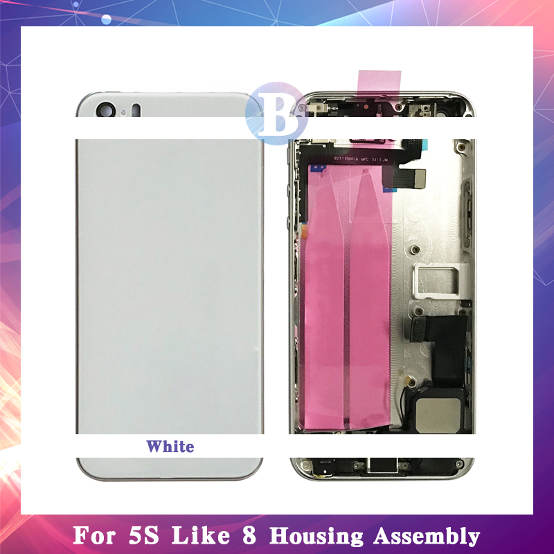 High Quality For iphone 5 5G 5S SE Like 8 Back Full Housing Assembly Battery Cover Door Rear Middle Frame Chassis Flex Cable